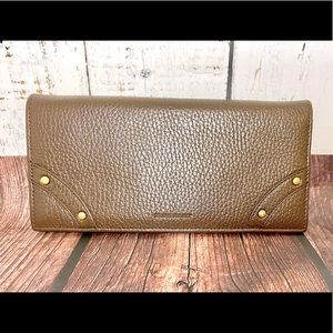 Burberry brown leather long wallet